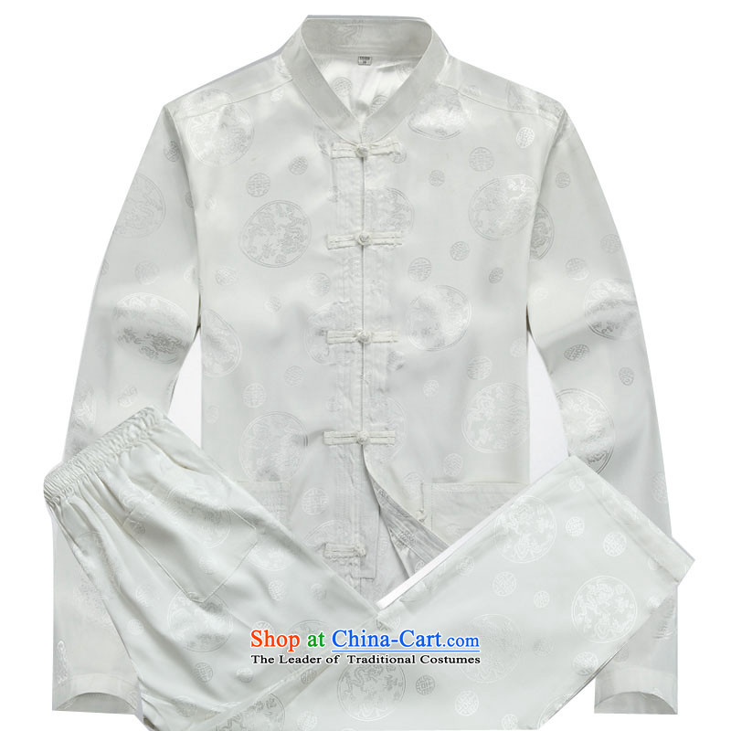 Kanaguri mouse in the new summer older Tang Dynasty Long-Sleeve Shirt collar middle-aged men Tang blouses father replacing men White Kit聽L