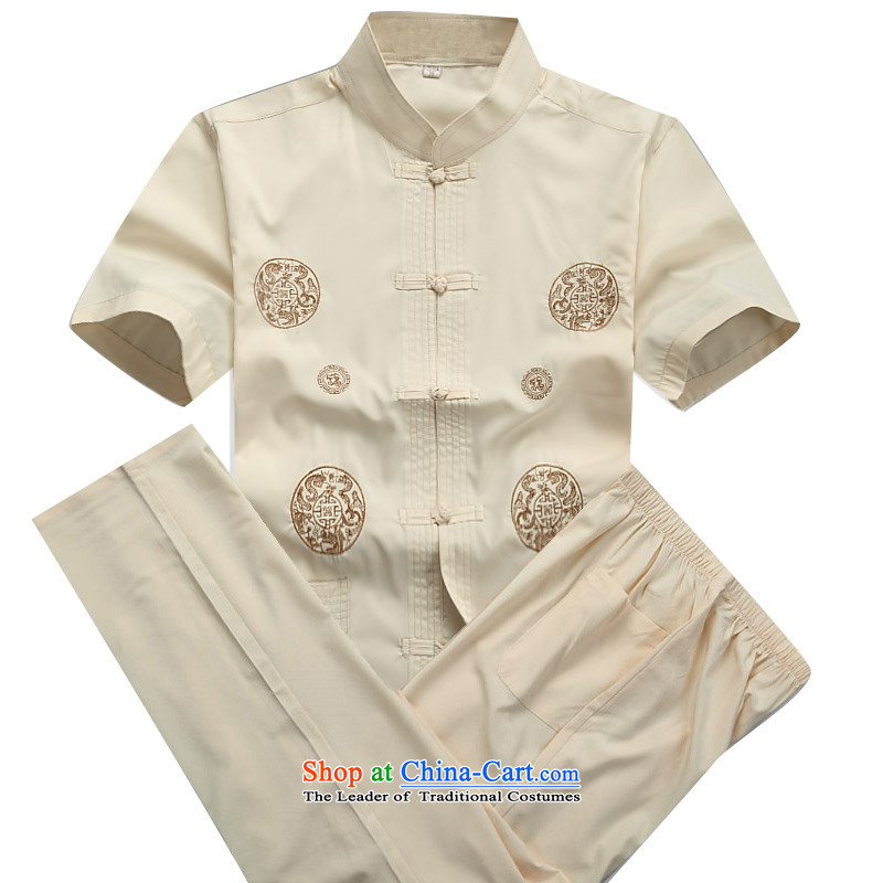 Beijing OSCE men Tang dynasty short-sleeve kit installed in the spring and summer of long-sleeved Tang dynasty older short-sleeve packaged jogs casual Kit Han-beige?S/165 Kit