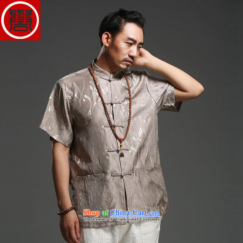 Renowned men 2014 Summer new middle-aged man Tang dynasty short-sleeved cotton linen Tang dynasty loose breathable short-sleeved T-shirt light gray large (175)
