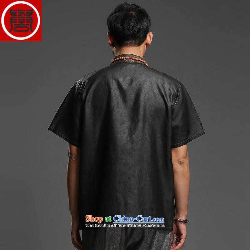 Renowned men silk short-sleeved Tang Dynasty Chinese shirt Men's Shirt herbs extract cloud of incense yarn men's short-sleeved black, 170, the Tang dynasty (CHIYU renowned shopping on the Internet has been pressed.)