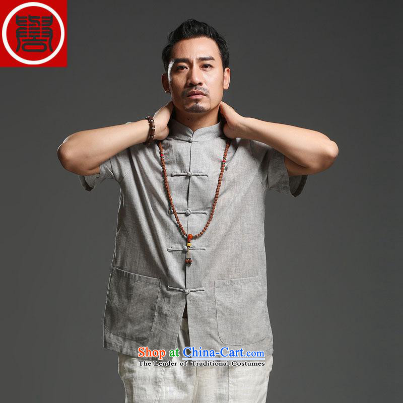 Renowned Tang Dynasty Men's Mock-Neck men casual cotton linen short-sleeved men pure color Tang dynasty breathable T-shirt for summer New Light Gray聽_2XL_