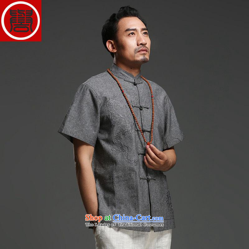 Renowned Tang replacing men short-sleeved cotton linen 2014 new dragon design Tang dynasty summer breathable T-shirt low national costumes carbon jumbo _180_