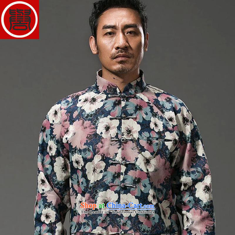 Renowned China wind suit male stylish decorated in stamp Tang long-sleeved collar disc detained during the spring and autumn jacket abounds Chinese improved jumbo XXL