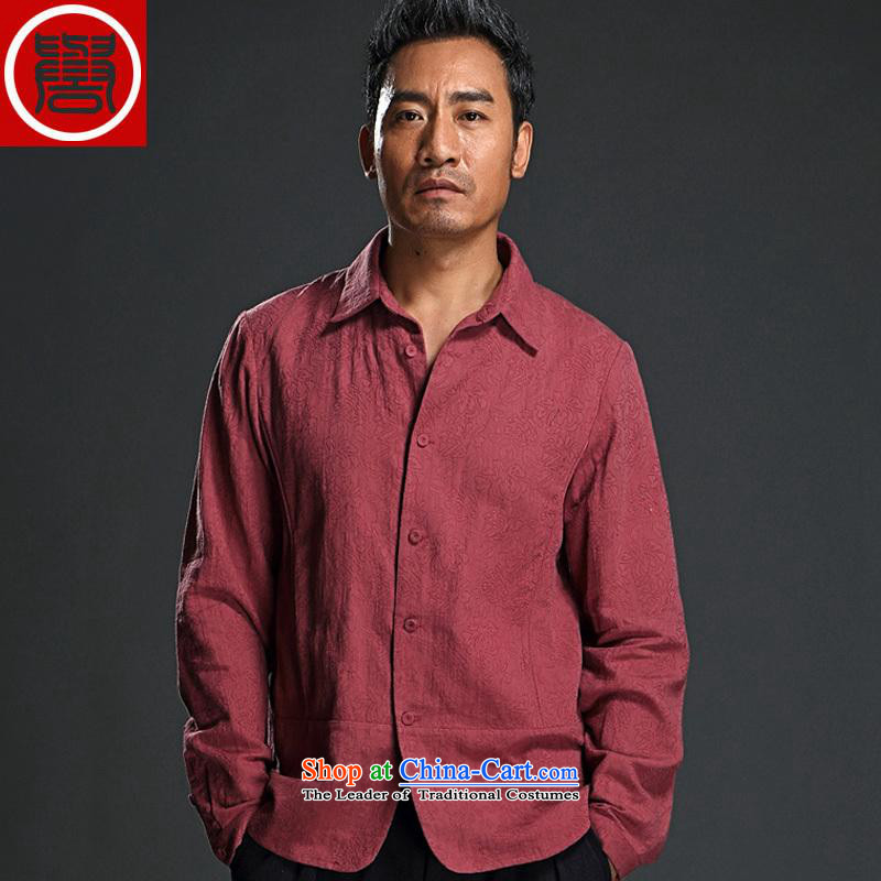 Renowned Men long-sleeved shirt yi lapel male national costumes China wind men's shirts in the spring and autumn, jacquard improved Tang dynasty large wine red T-shirt (XL)