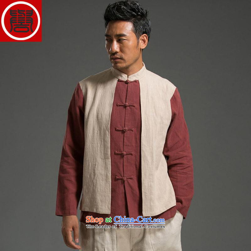 Renowned Chinese Wind leave two Sau San Men long-sleeved shirt with flax spell color autumn tray clip mock Chinese tunic Tang Dynasty Large Red and White XL