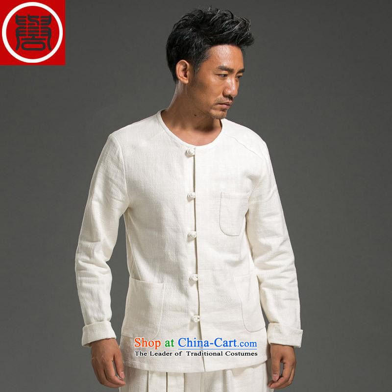 Renowned China wind ma disk load autumn shirt clip New retro men's Sau San ethnic linen white long-sleeved shirt jumbo _2XL_