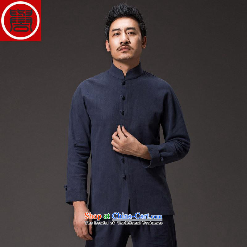 Renowned China wind men cotton linen garments of ethnic Chinese shirt men Sau San disk tie long sleeved shirt collar of the Chinese Tang dynasty blue XXXL improvement