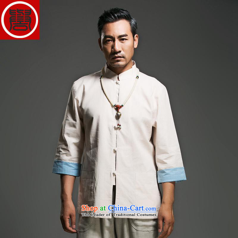 In the renowned older men Tang dynasty pure cotton tray clip collar seven Chinese shirt-sleeves traditional Han-Menswear Chinese clothing m Yellow Large (175)