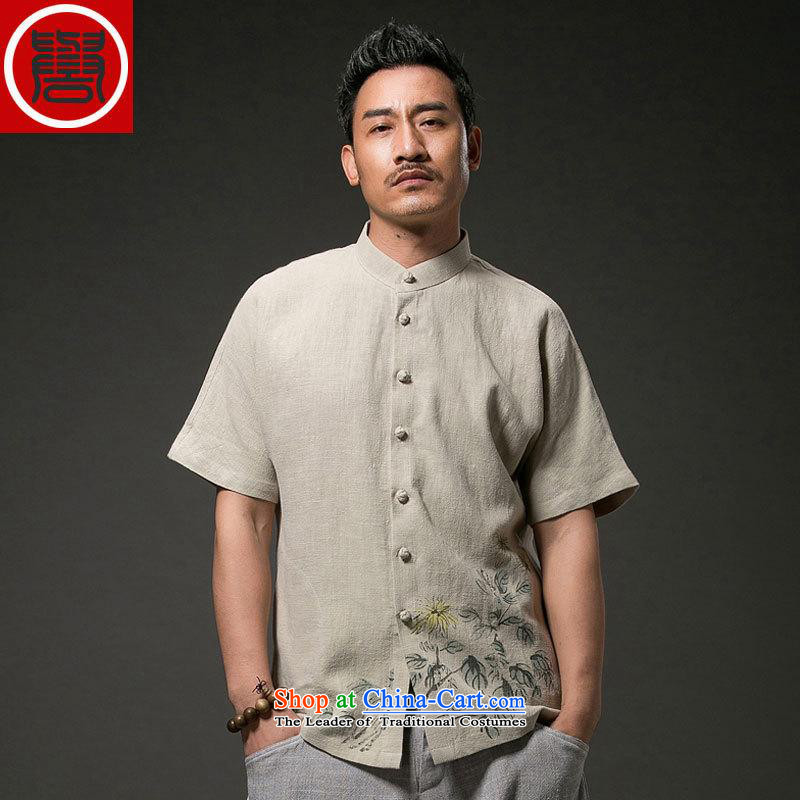 Renowned Tang replacing men's leisure printed cloth short-sleeved shirt linen china wind male cotton linen clothes men's summer light green聽XL