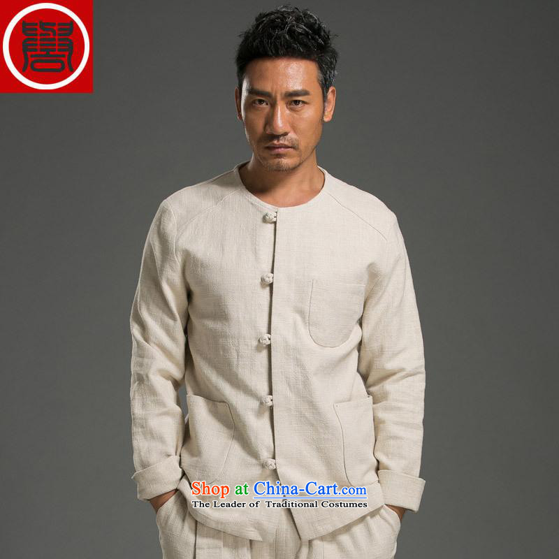 Renowned China wind men's shirts Long-Sleeve Shirt Kung Fu Man Kit Chinese round-neck collar cotton linen Sau San simplicity of ethnic light yellow L