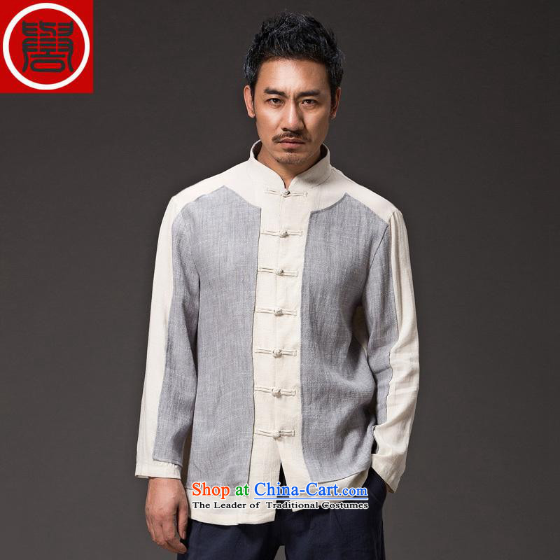 Renowned China wind Cheongsams Men long-sleeved shirt Sau San Chinese linen Men's Shirt clip and the Spring and Autumn period is light gray T-shirt large XL