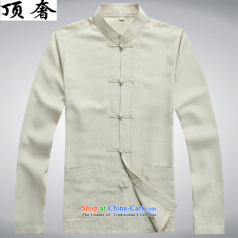 Top Luxury men Tang Dynasty Package in the spring and autumn long-sleeved long-sleeved shirt Han-older China wind load thin cotton linen father of a mock-neck jacket coat man Chinese beige jacket燲XXL_190 Kit