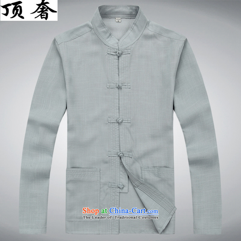 Top Luxury� spring and autumn 2015 New Men Tang Dynasty Package collar disc detained Tang Dynasty Tang dynasty long-sleeved package version loaded dad relaxd exercise clothing blue Han-Cheong Wa燲XXL_190 gray T-Shirt