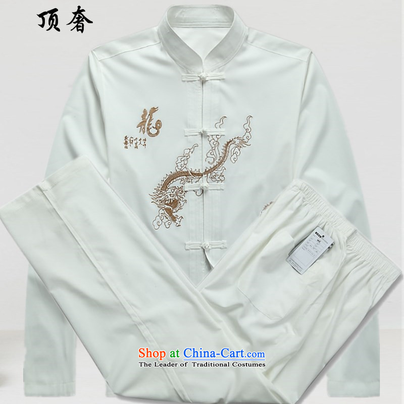 Top Luxury men Tang Dynasty Package Version relaxd long-sleeved Mock-Neck Shirt China wind up the clip Han-white embroidery Tang Dynasty Package festival in dress older Kit White Kit 39/170