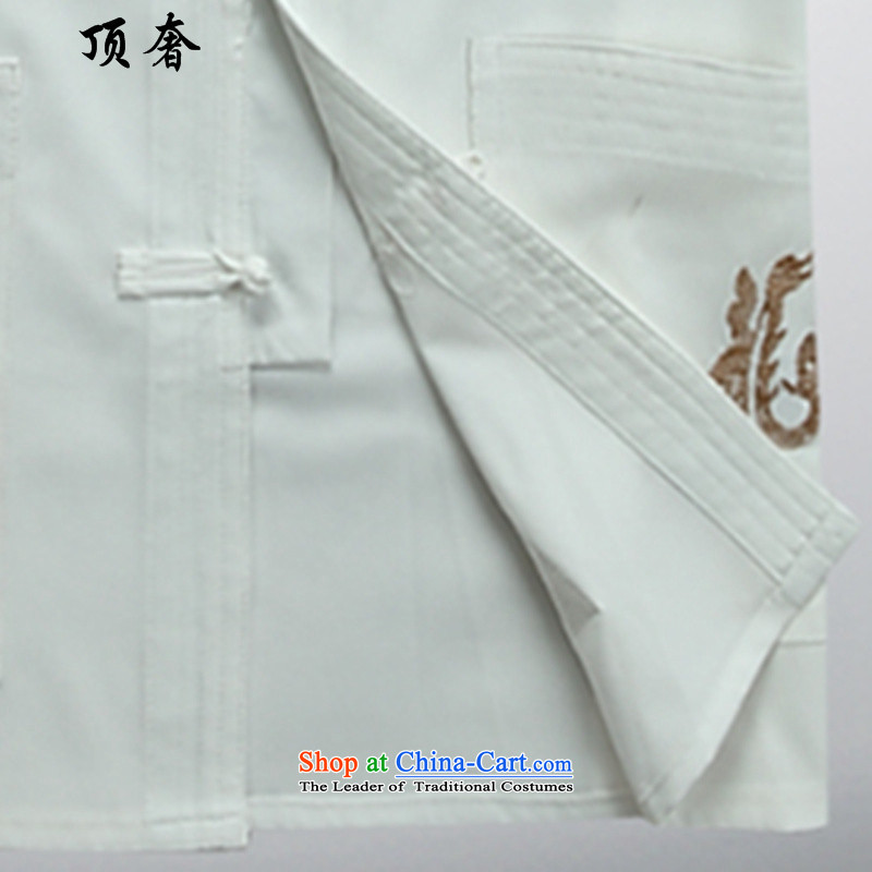 Top Luxury men Tang Dynasty Package Version relaxd long-sleeved Mock-Neck Shirt China wind up the clip Han-blue embroidery Tang Dynasty Package Boxed White Kit father聽43/190, top luxury shopping on the Internet has been pressed.