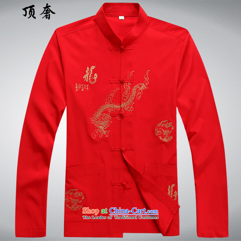 Top Luxury men Tang Dynasty Package Version relaxd long-sleeved Mock-Neck Shirt China wind up the clip Han-T-shirt embroidery Tang Dynasty Package DAD package in older red T-shirt?40/175