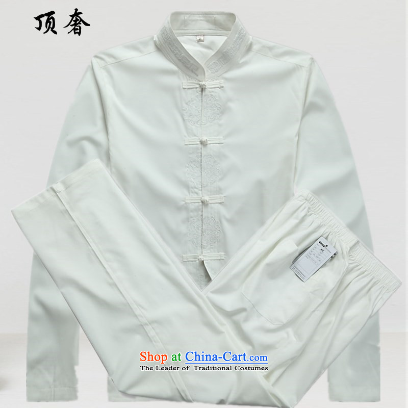 Top Luxury Autumn New Tang Dynasty Men's Shirt of older persons in the Han-Menswear China wind Long-sleeve kit exercise clothing father installed life jackets White Kit聽39_170