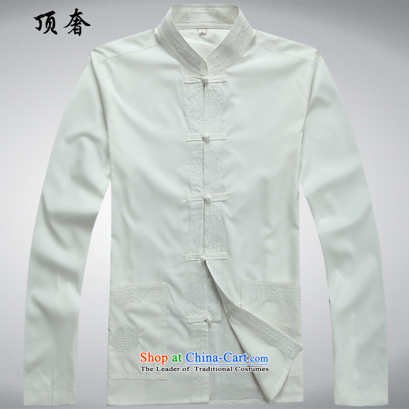 Top Luxury Autumn New Tang Dynasty Men's Shirt of older persons in the Han-Menswear China wind Long-sleeve kit exercise clothing father installed life jackets White Kit聽39/170, top luxury shopping on the Internet has been pressed.