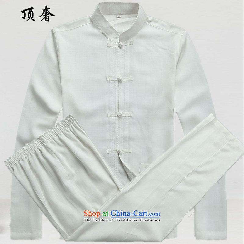 Top Luxury autumn thin, Men's Long-Sleeve men of older persons in the Han-China wind Long-sleeve kit exercise clothing red father boxed men Tang Dynasty Package White Kit?42/185