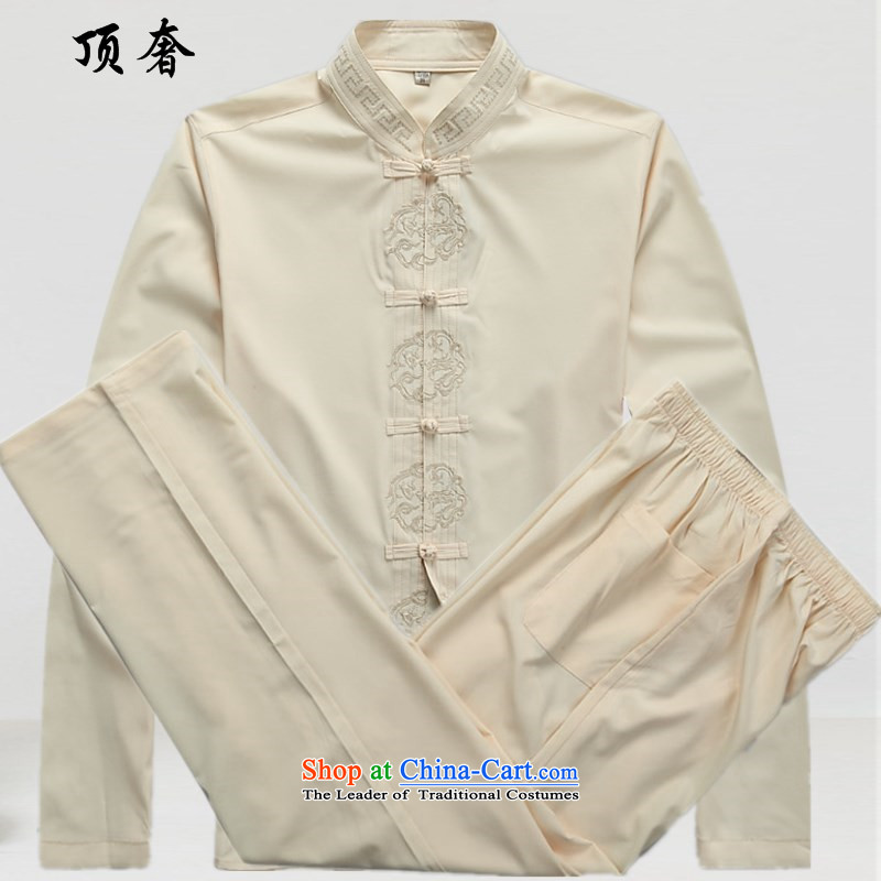 Top Luxury new summer, Tang Dynasty Men's Long-Sleeve men of older persons in the Han-China wind Long-sleeve kit exercise clothing father Han-beige Boxed Kit?43_190