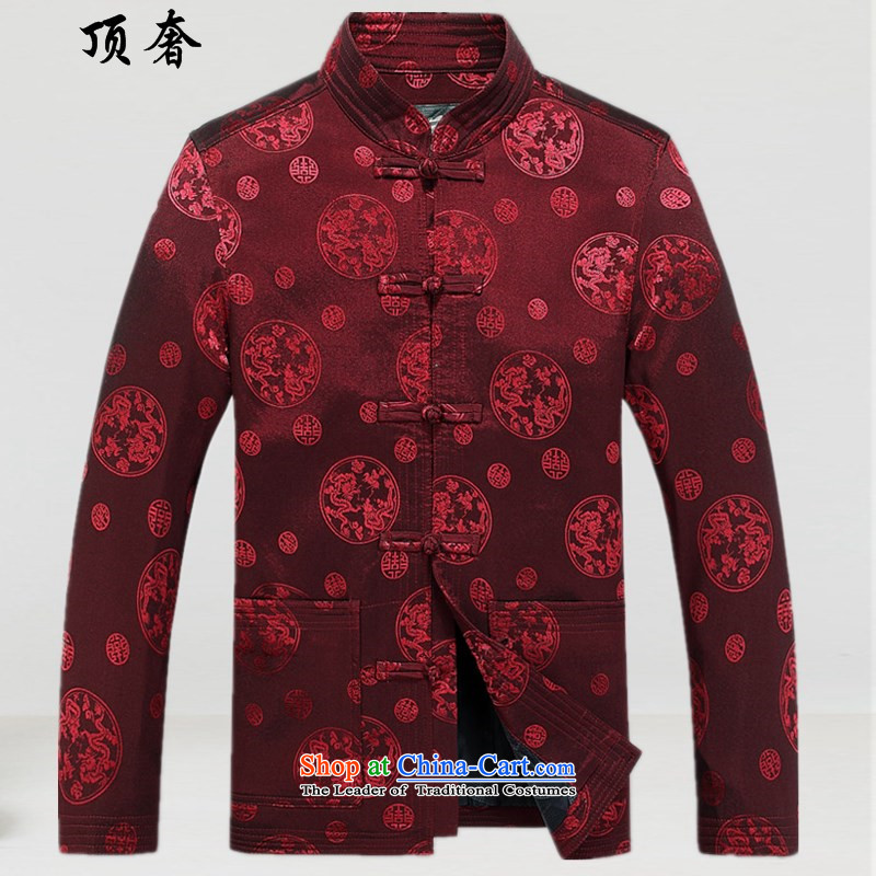 Top Luxury long-sleeved Tang dynasty China Happy Birthday Boy wind clothes men dress jacket coat men in Han-blue older Chinese clothing loose version men deep red燲L_180