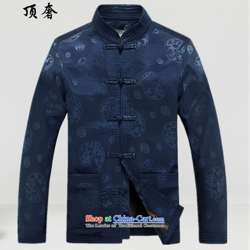 Top Luxury燼utumn 2015 replacing Tang dynasty long-sleeved male kit tray clip collar Tang blouses men's dress men jacket coat Han-Tang dynasty older dark blue燲XXL_190