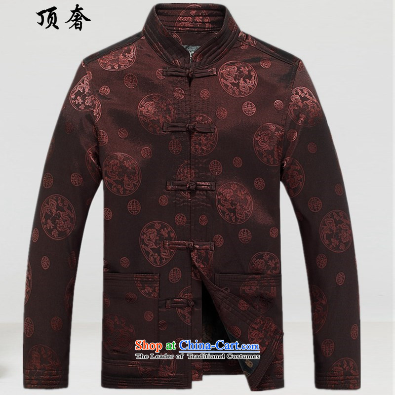 Top Luxury spring and fall long-sleeved Tang dynasty male Kit China wind Happy Birthday clothes for men will dress jacket coat in men's older Chinese Han-brown L_175