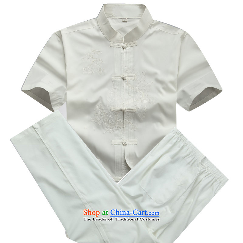 Beijing OSCE men Tang dynasty short-sleeve kit spring and summer load long-sleeved of older persons in the Tang dynasty short-sleeved white kit kit?S