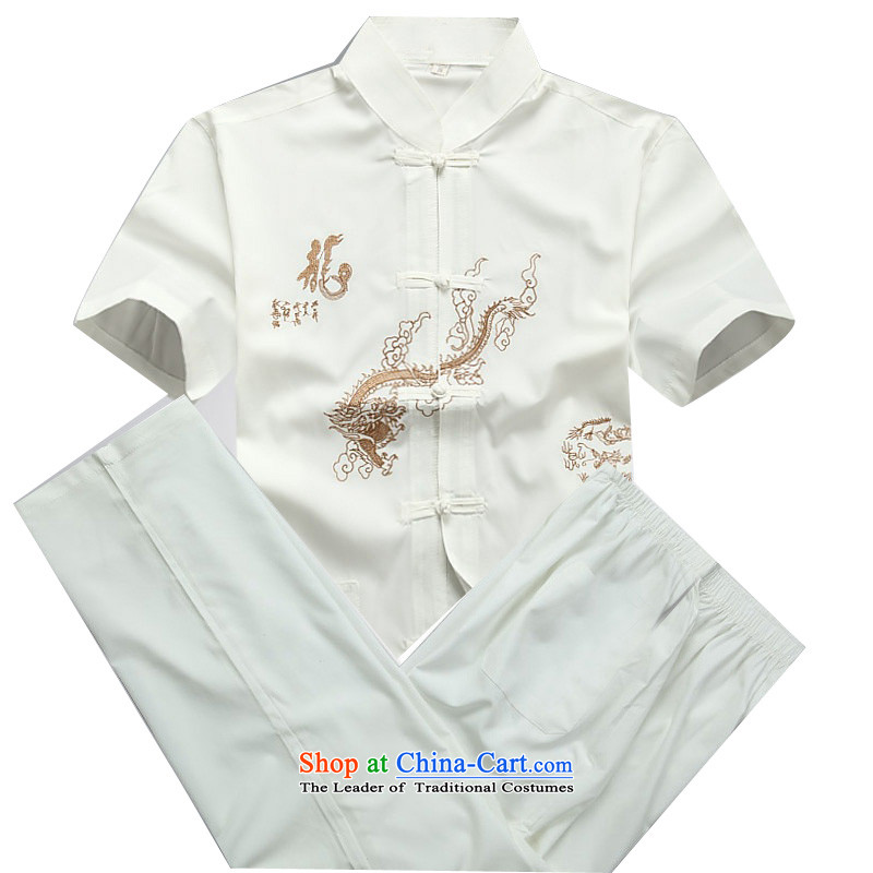 Beijing OSCE Tang Dynasty Package light summer, China wind disc is older men short-sleeved Tang Dynasty Package white聽M_170 Kit