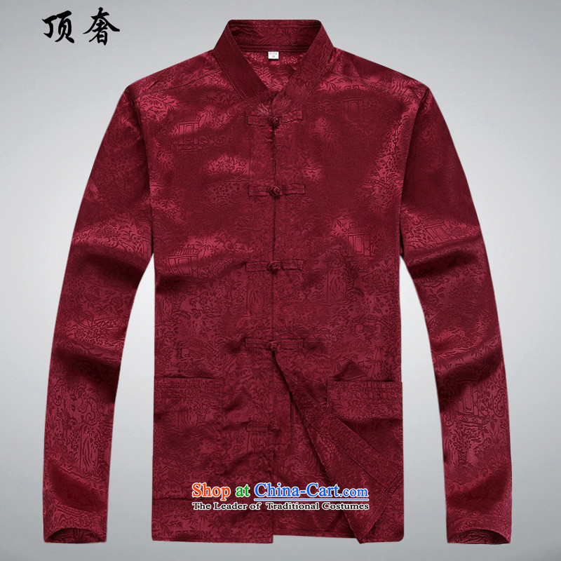 Top Luxury?spring and autumn 2015 new long-sleeved Tang Dynasty Package Mock-neck Han-disc loose ties China wind from older version packaged dress shirt collar Tang dynasty?39/170 red T-Shirt