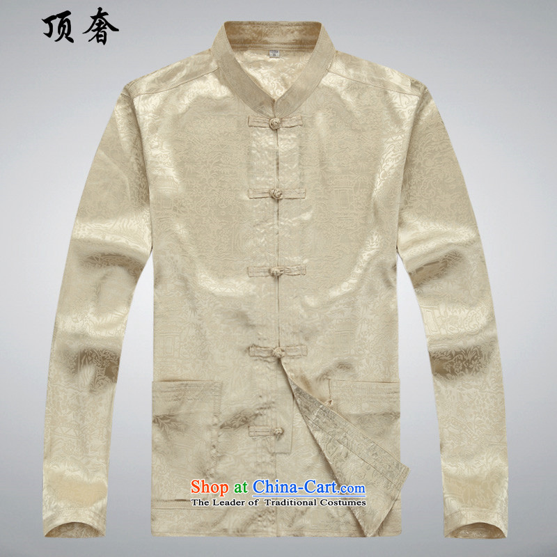 Top Luxury?spring and autumn 2015 new long-sleeved Tang Dynasty Package Mock-neck Han-disc loose ties China wind from older version packaged tai chi Tang dynasty Mock-neck shirt, beige jacket?43/190