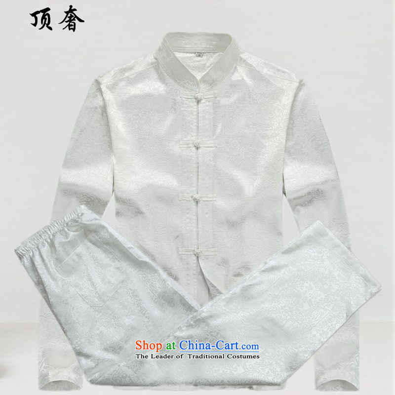Top Luxury�15 New Men's Long-Sleeve loose version older Tang Dynasty Package ball-long-sleeved shirt collar national costume father boxed kit white men燲XXL_190