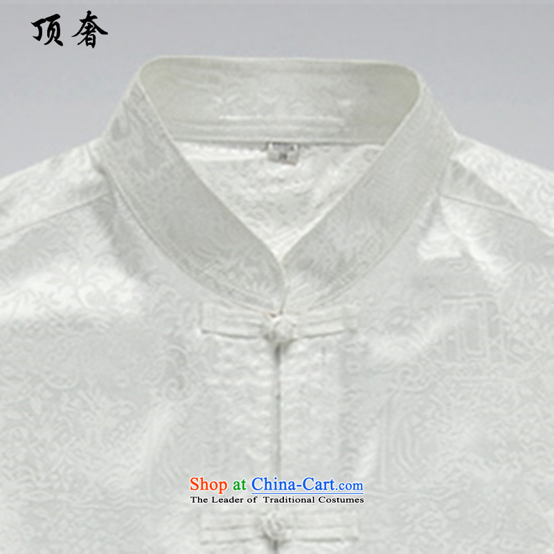 Top Luxury聽2015 New Men's Long-Sleeve loose version older Tang Dynasty Package ball-long-sleeved shirt collar national costume father boxed kit white men聽XXXL/190, top luxury shopping on the Internet has been pressed.
