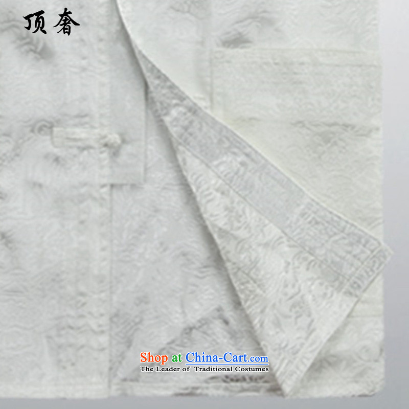 Top Luxury聽spring and autumn 2015 Summer thin, Men's Long-Sleeve loose version older Tang Dynasty Package ball-long-sleeved shirt collar Tang Dynasty Package Boxed White Kit father聽M/170, top luxury shopping on the Internet has been pressed.