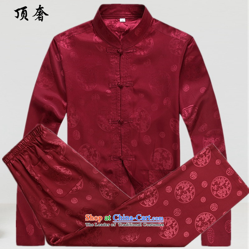 The extravagance in爏pring and autumn of 2015, the top men Tang Dynasty Package Version loose collar up a thin white tie, Hon Kenneth Ting dress in the older Tang Dynasty Package red kit燣_175