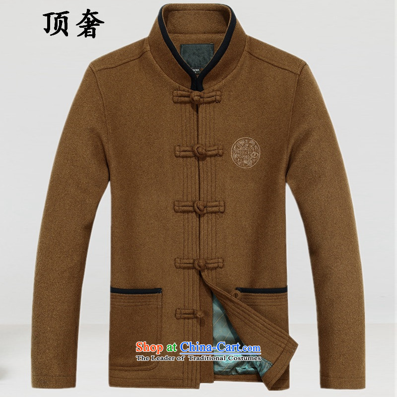 Top Luxury? 2015 autumn and winter, men's woolen? Tang dynasty collar thick China wind male blouses father Han-soo dresses the Chinese Tang dynasty brown?175