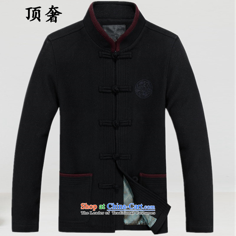 Top Luxury� 2015 autumn and winter, men's woolen? Tang dynasty collar thick China wind male blouses male jacket coat Han-Tang Dynasty Chinese men and classic black�180