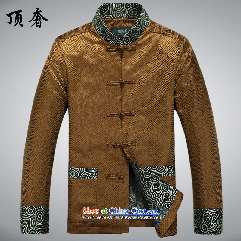 Top Luxury Tang dynasty 2015 Spring New collar jacket men long-sleeved Tang dynasty China wind Men's Jackets Chinese Dress Casual Tang Blouses Gold T-shirt?M/170