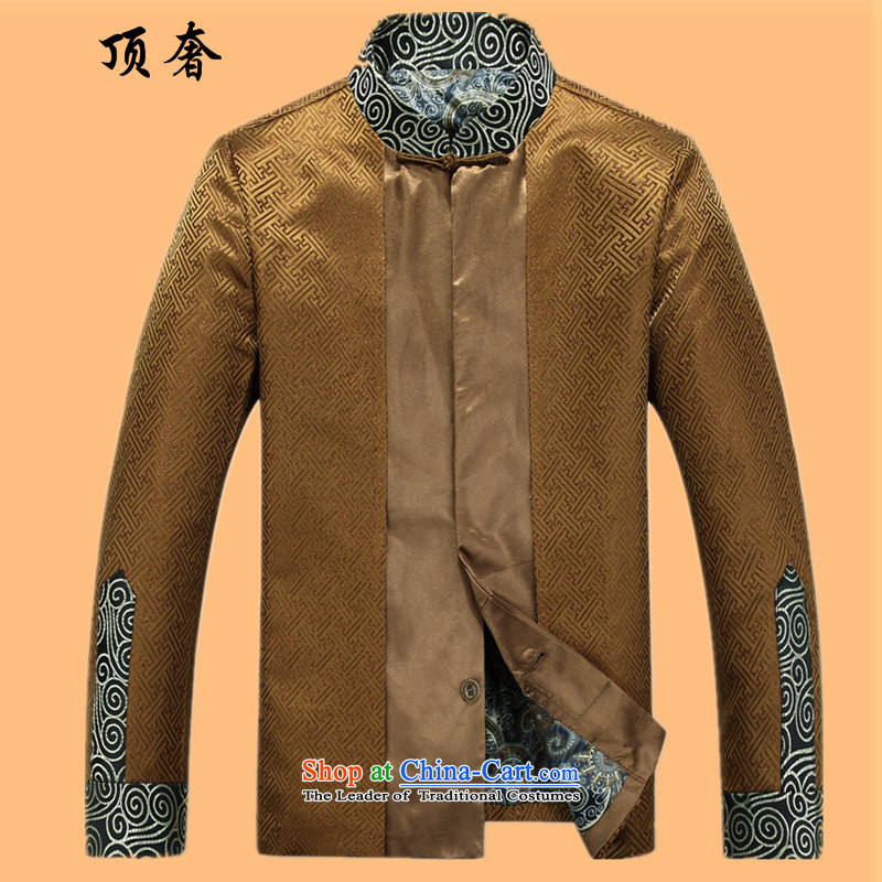 Top Luxury Tang dynasty 2015 Spring Collar jacket men long-sleeved Tang dynasty China wind Men's Jackets Chinese Dress golden wedding too casual sushi Tang Blouses Gold T-shirt M/170