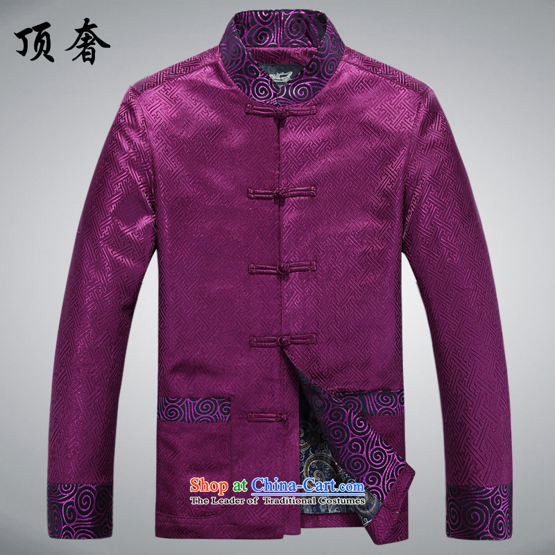 Top Luxury Tang dynasty 2015 Spring improved collar jacket men long-sleeved Tang dynasty China wind Men's Jackets Chinese Dress Casual Tang blouses purple shirt聽XXXL_190