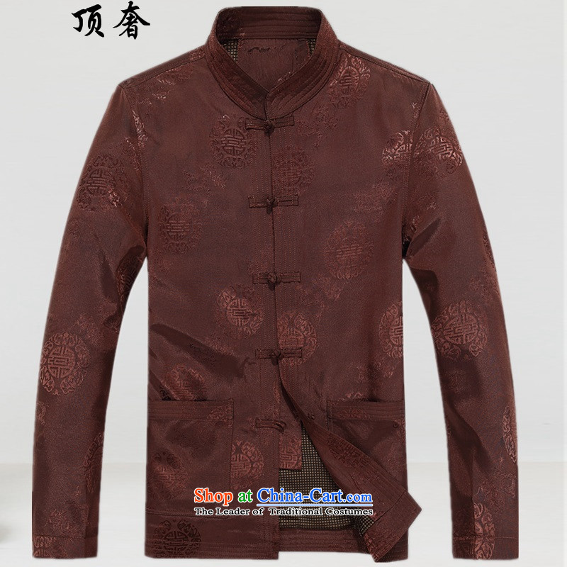 Top Luxury male jacket of older persons in the autumn replacing Tang Dynasty Men long-sleeved birthday too Shou Chinese dress jacket for the elderly men relaxd Tang blouses red jacket and coffee-colored燣_175_