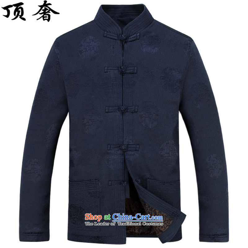 Top Luxury autumn and winter, men Tang jackets collar disc detained Tang blouses father add lint-free thick Tang jacket in red older men Han-blue packaged聽XXL/185, top luxury shopping on the Internet has been pressed.