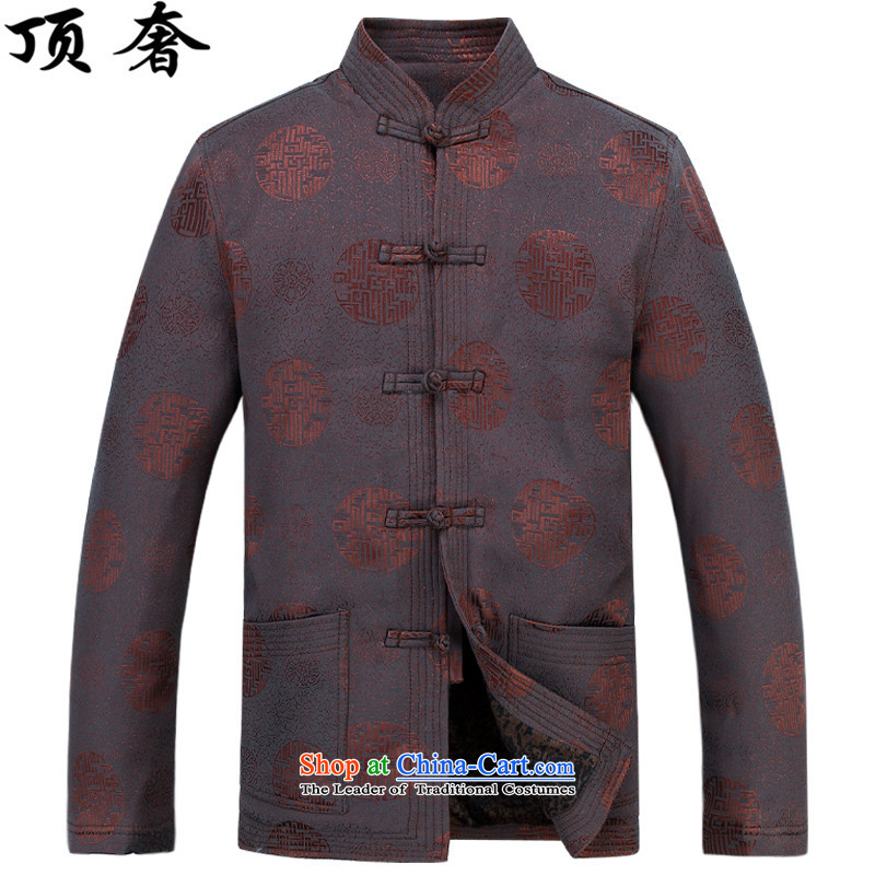 Top Luxury autumn and winter, men Tang jackets collar disc detained Tang blouses father add lint-free thick Tang long-sleeved jacket men in older men Han-coffee-colored T-shirt with lint-free燣_175