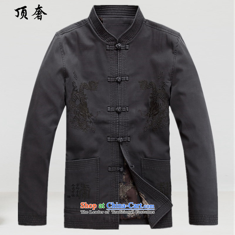 Top luxury, in spring and autumn older Tang Blouses China wind Cotton Men Tang Dynasty Chinese ancient male long-sleeved sweater Han-Male dress uniform ball-Menswear jacket聽M_170 Carbon