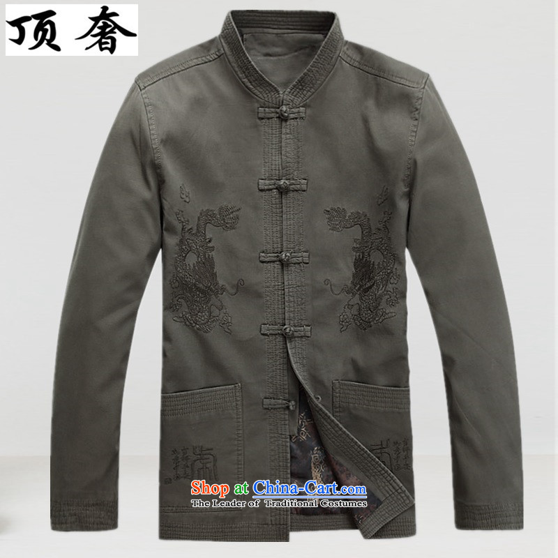 Top luxury, in spring and autumn older Tang Blouses China wind men Tang Dynasty Chinese ancient male long-sleeved sweater Han-male ball served life jackets?L/175 light green
