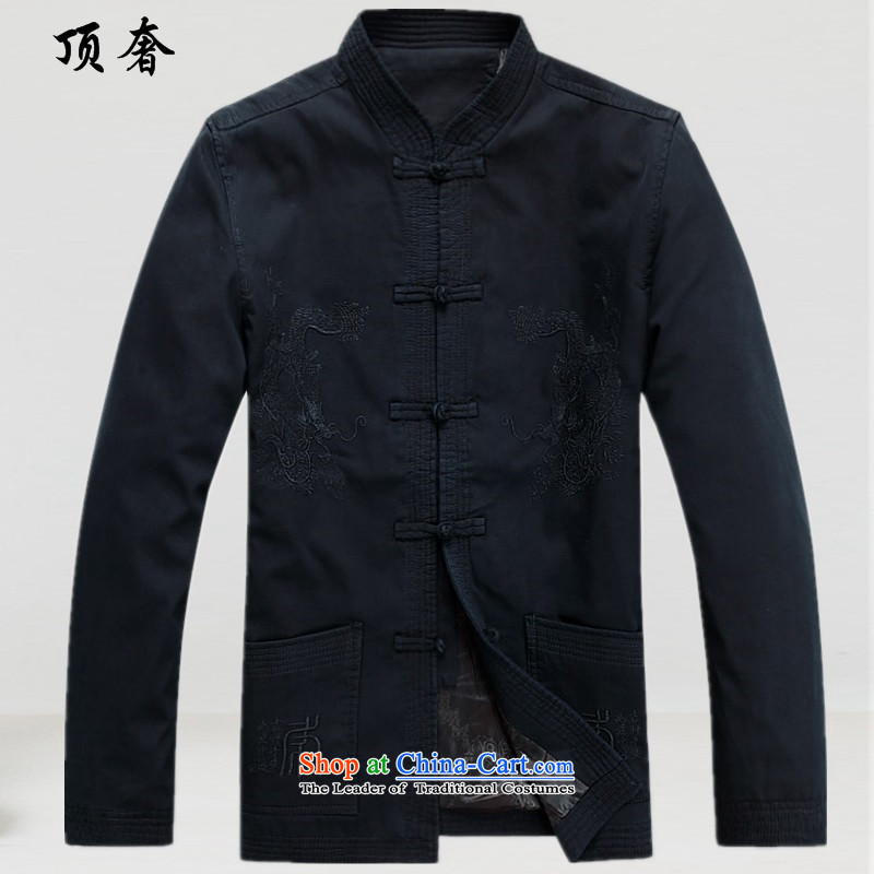 Top luxury, in spring and autumn older Tang Blouses China wind Cotton Men Tang Dynasty Chinese version of long-sleeved sweater relaxd costume Han-men and boys to serve a ball-Black blue�S/165 Jacket