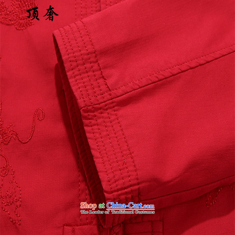 Top Luxury cotton Tang blouses collar loose version is detained China wind men Tang dynasty men red jacket over the life of Chinese Dress birthday of older persons in the red jacket Tang blousesXXL/185, top luxury shopping on the Internet has been presse