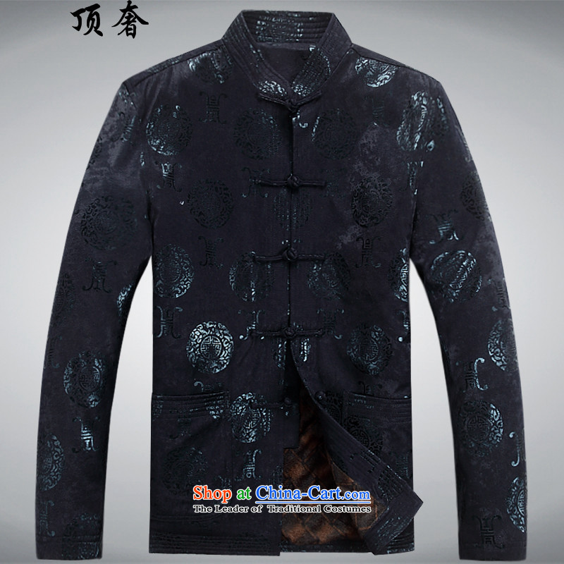 Top Luxury autumn and winter, Tang blouses and lint-free loose collar men's jackets in older men thick Tang jacket father replacing Chinese Han-Tang dynasty older deep red velvet?M/170 Plus
