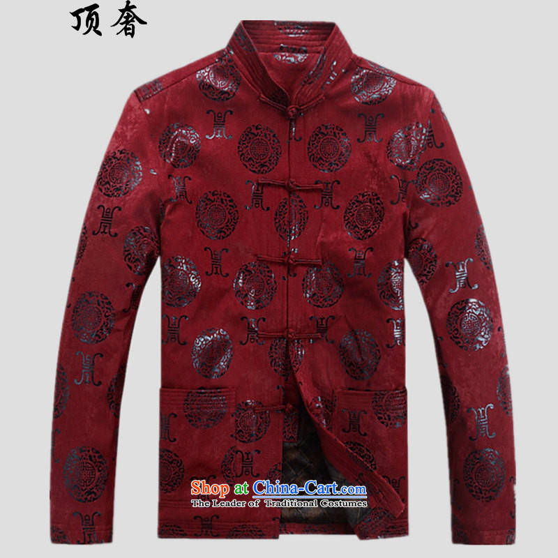 Top Luxury men Tang dynasty loose version plus lint-free hand thickened winter tray clip red wedding dresses too shou men's jackets for larger elderly jacket Han-dark red velvet?L/175 Plus
