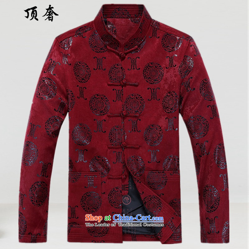 Top Luxury autumn and winter, Tang jackets loose collar version China Wind Jacket men detained ethnic Han-rom practice suits the elderly in the life of the Tang dynasty dress燲XL_185 deep red